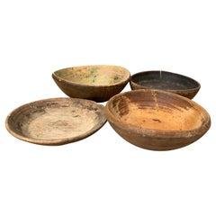 Set of 4 Swedish 19th Century Wooden Folk Art Bowls