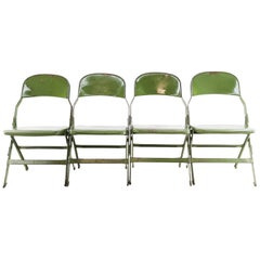Set of 4 Vintage Clarin Corp Military Army Folding Chairs, Midcentury