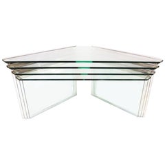 Set of 4 Vintage Nesting Side Tables in Chrome and Glass by Gallotti & Radice