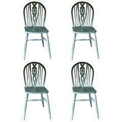 Set of 4 Windsor Chairs, English, Antique Windsor Chairs,Decorative, Painted