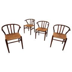 Set of 4 'Wishbone' Chairs in Oak, Hans J. Wegner