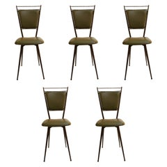 Set of 5 French 1950s Wrought Iron Chairs