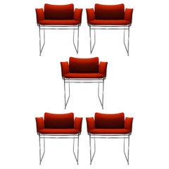 Set of 5 Vintage Burnt Orange and Chrome Dining Chairs by Kazuhide Takahama
