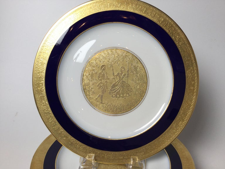 German Set of 6 Cobalt Blue and Gold Encrusted Service Plates For Sale