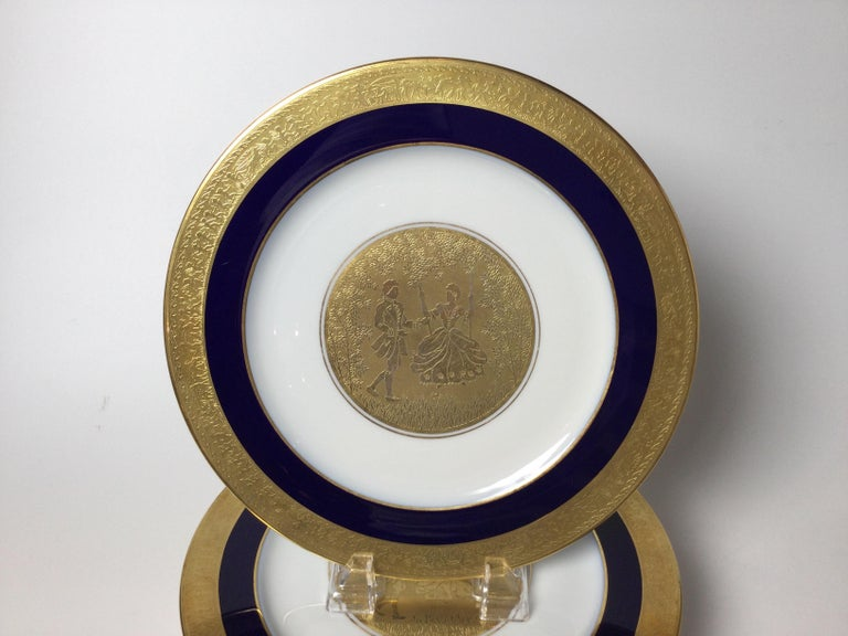 Gilt Set of 6 Cobalt Blue and Gold Encrusted Service Plates For Sale