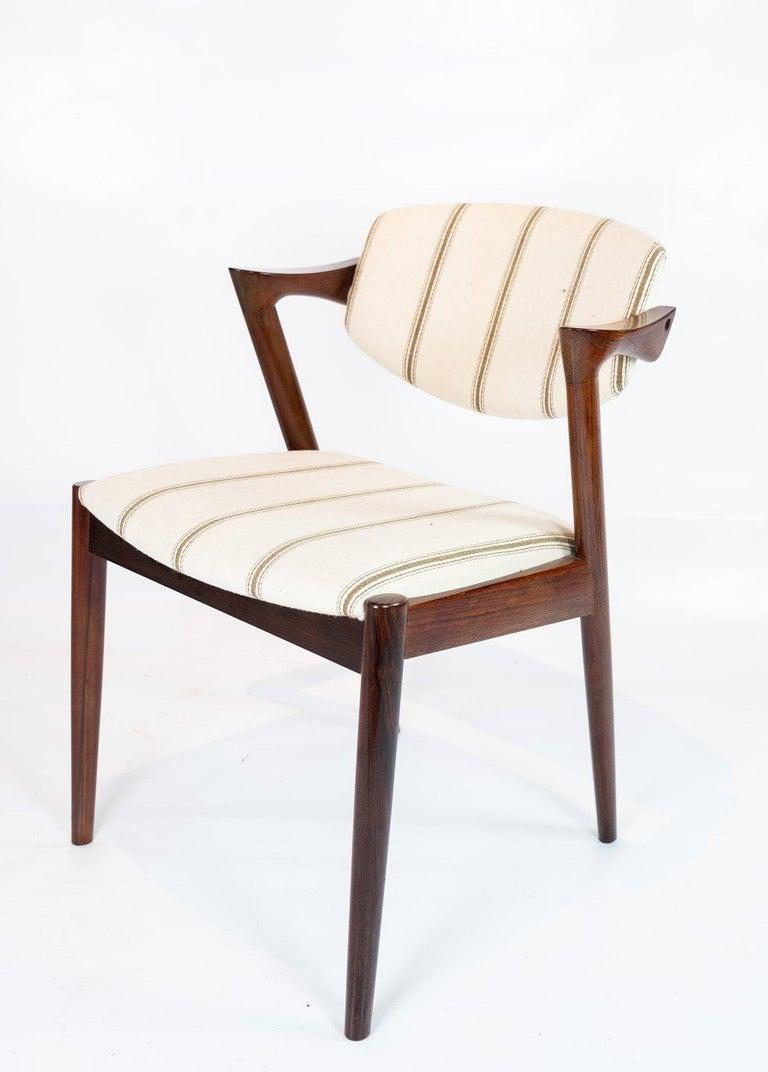 Scandinavian Modern Set of 6 Dining Chairs, Model 42, Designed by Kai Kristiansen, 1960s For Sale