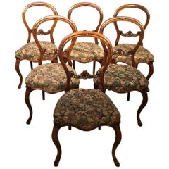 Set of 6 English Victorian Walnut Dining Chairs