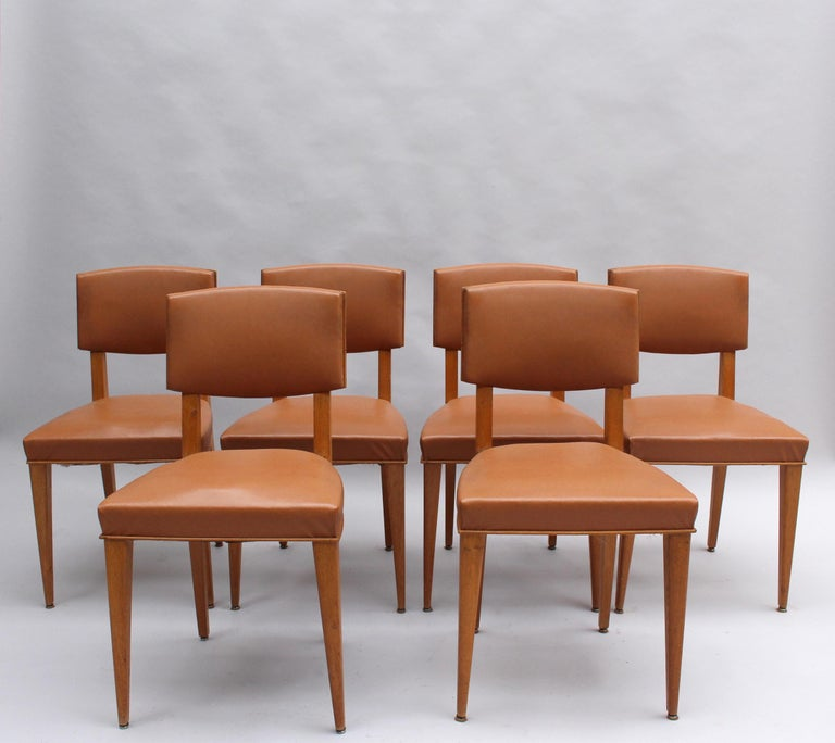 Set of 6 Fine French 1950s Oak Chairs For Sale 6