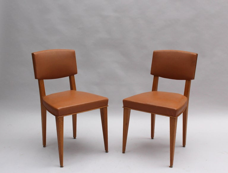 Mid-Century Modern Set of 6 Fine French 1950s Oak Chairs For Sale