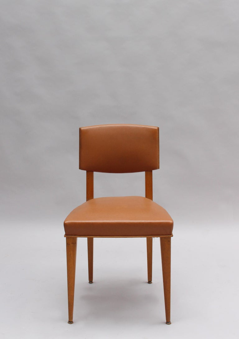 Set of 6 Fine French 1950s Oak Chairs In Good Condition For Sale In Long Island City, NY