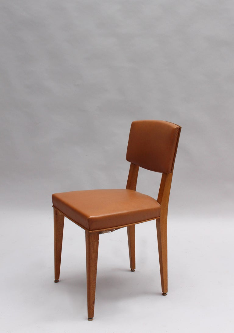 Mid-20th Century Set of 6 Fine French 1950s Oak Chairs For Sale