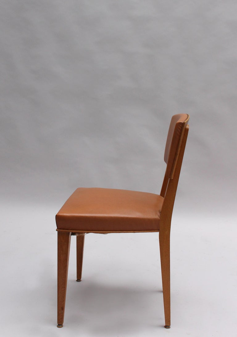 Set of 6 Fine French 1950s Oak Chairs For Sale 1