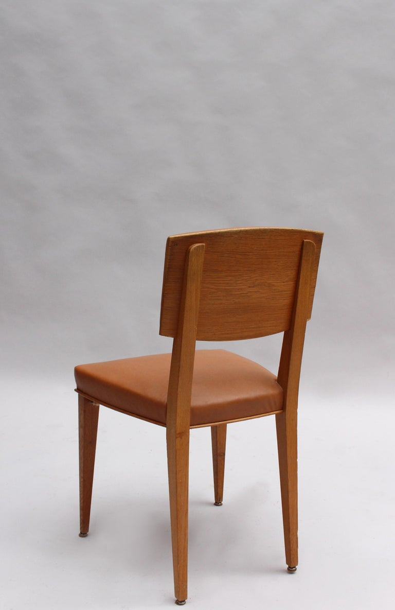Set of 6 Fine French 1950s Oak Chairs For Sale 2