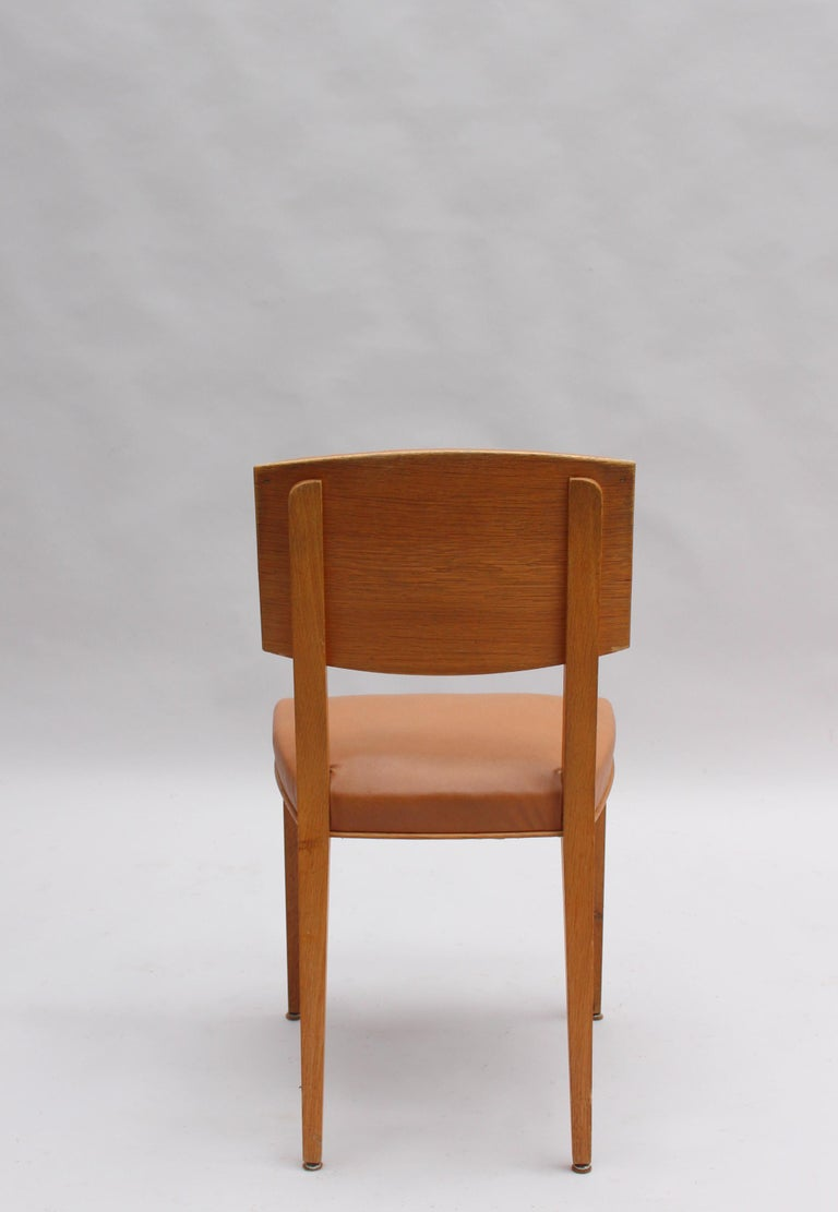 Set of 6 Fine French 1950s Oak Chairs For Sale 3