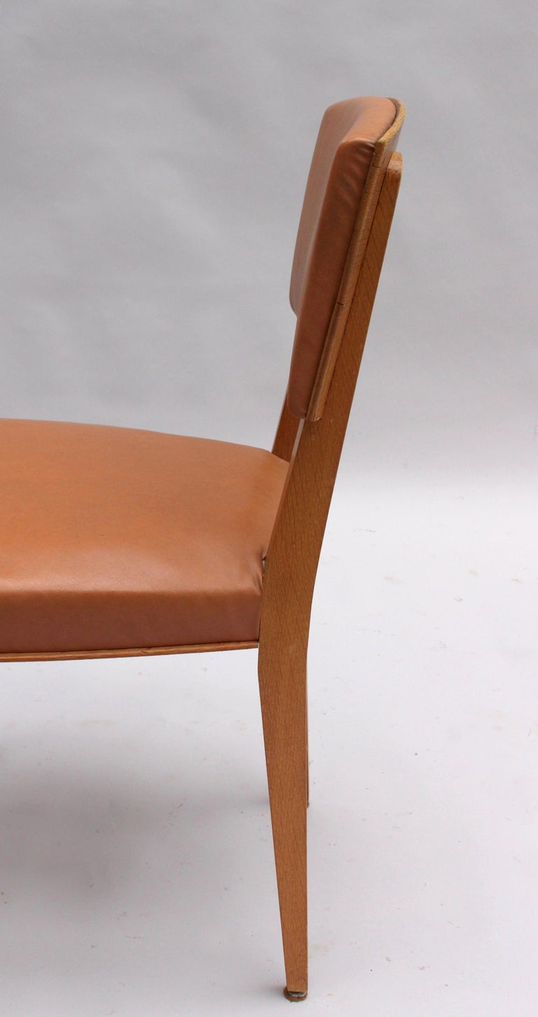 Set of 6 Fine French 1950s Oak Chairs For Sale 4