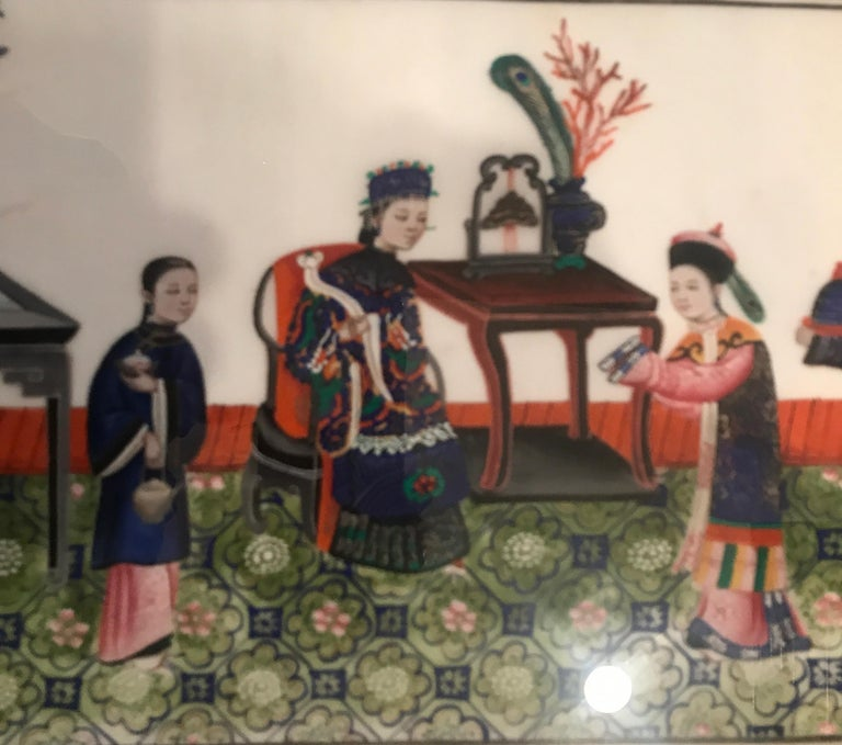 Set of 6 Framed Gouache Paintings on Pith Paper, China, 1850 For Sale 4