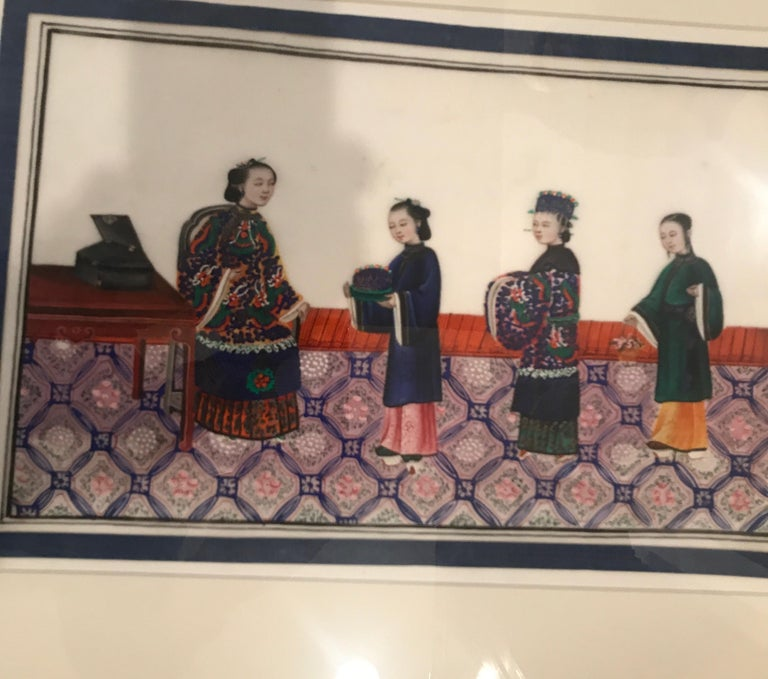 Set of 6 Framed Gouache Paintings on Pith Paper, China, 1850 For Sale 5