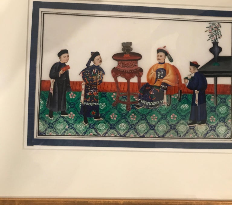 Set of 6 Framed Gouache Paintings on Pith Paper, China, 1850 For Sale 6