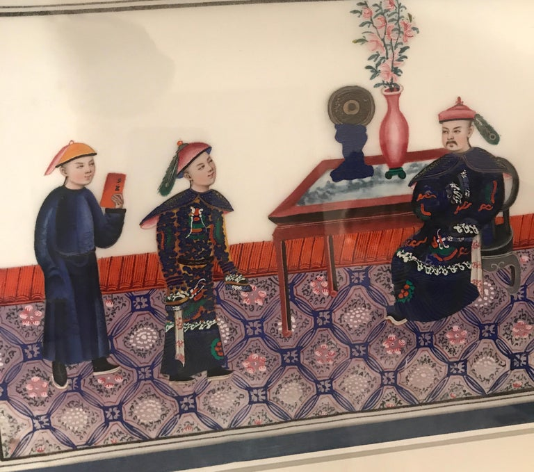 Set of 6 Framed Gouache Paintings on Pith Paper, China, 1850 For Sale 7