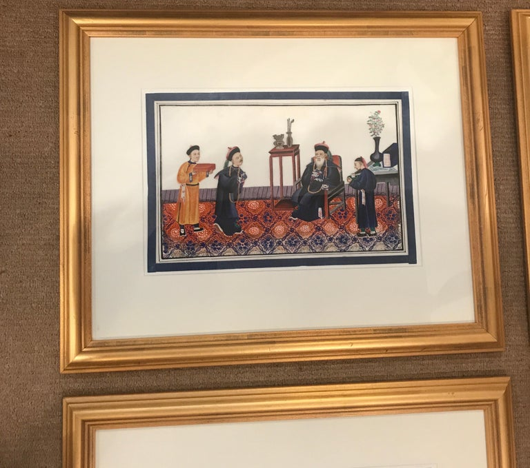 Vibrant set of 6 gouache paintings on pith paper mid-19th century Chinese. Excellent condition in simple later giltwood frames. The label on back stating they are from a fine art gallery in Hong Kong. The set depicting Chinese ceremonial court