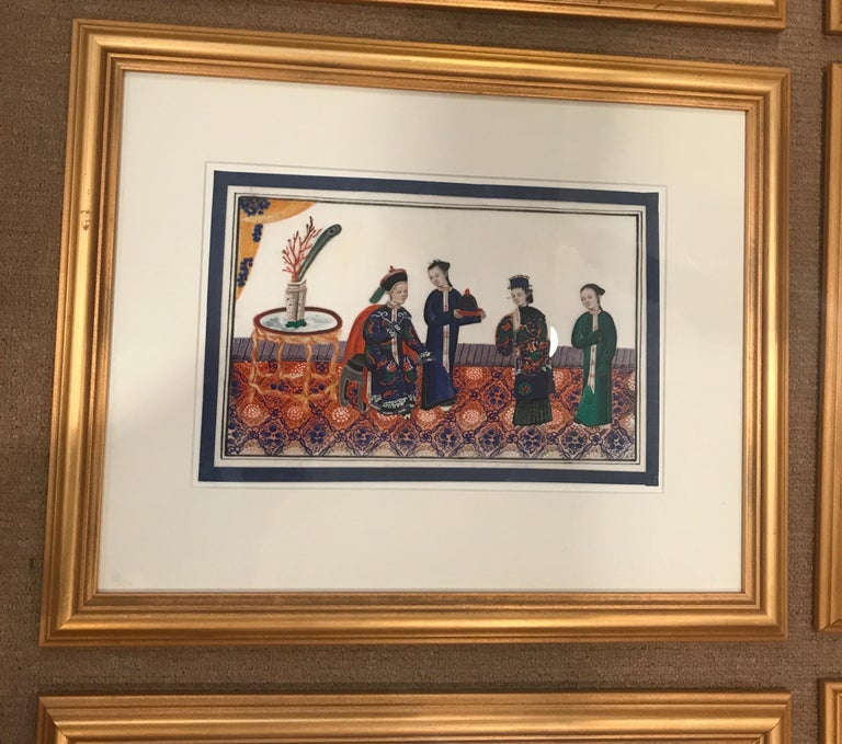 Chinese Set of 6 Framed Gouache Paintings on Pith Paper, China, 1850 For Sale