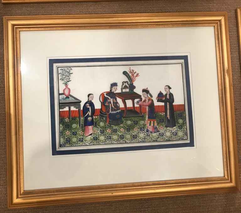 Set of 6 Framed Gouache Paintings on Pith Paper, China, 1850 In Excellent Condition For Sale In Lambertville, NJ