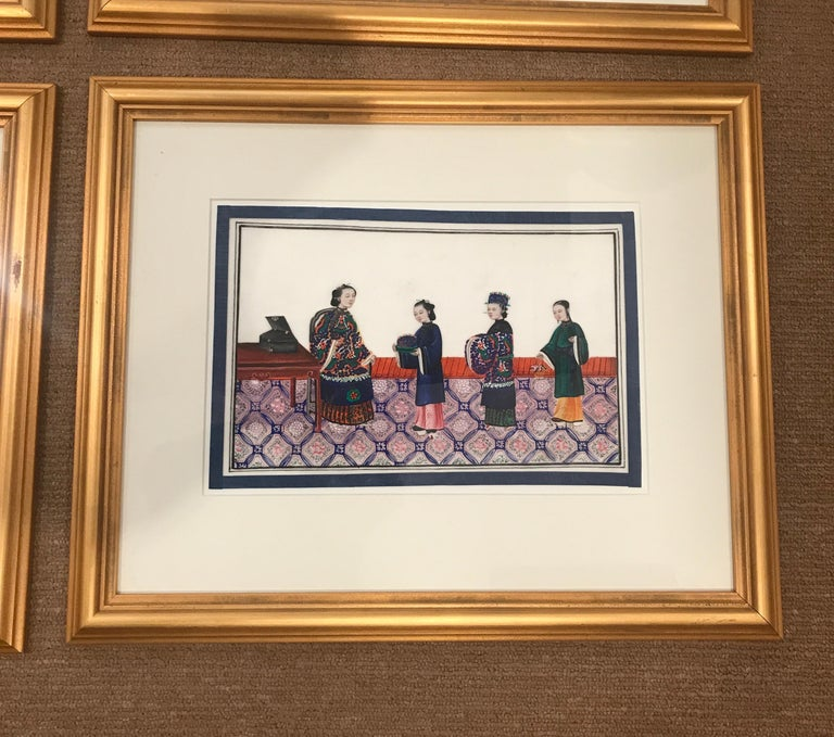 Mid-19th Century Set of 6 Framed Gouache Paintings on Pith Paper, China, 1850 For Sale