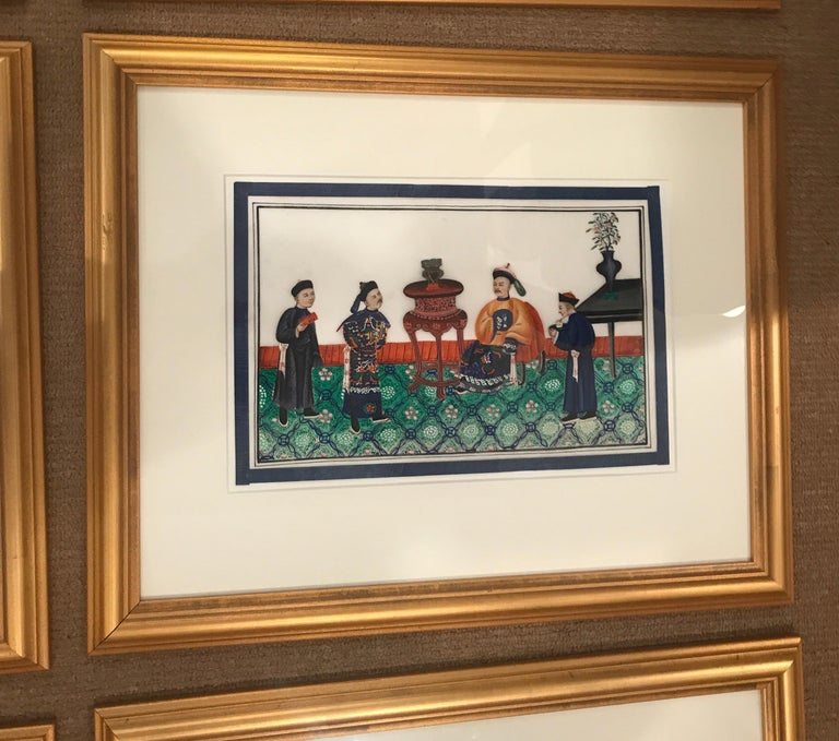 Glass Set of 6 Framed Gouache Paintings on Pith Paper, China, 1850 For Sale
