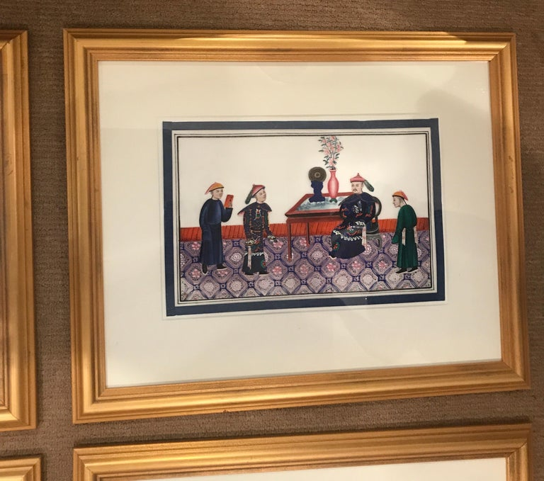 Set of 6 Framed Gouache Paintings on Pith Paper, China, 1850 For Sale 1
