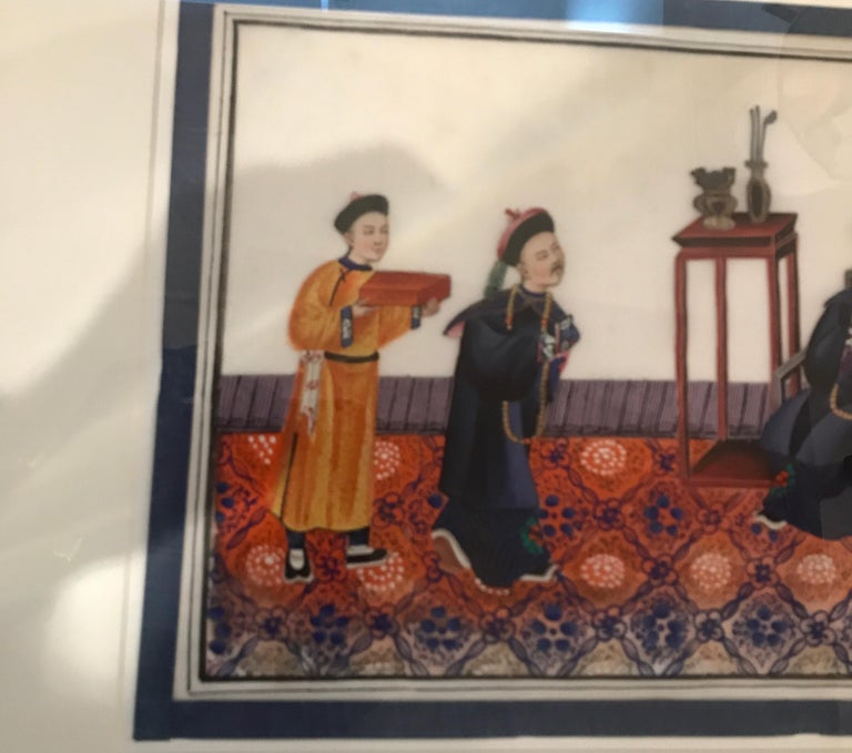 Set of 6 Framed Gouache Paintings on Pith Paper, China, 1850 For Sale 2