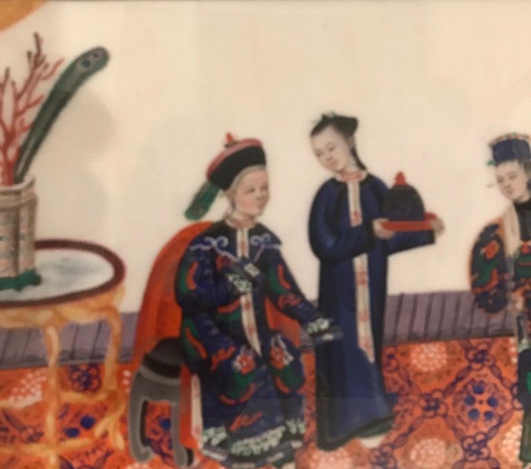 Set of 6 Framed Gouache Paintings on Pith Paper, China, 1850 For Sale 3