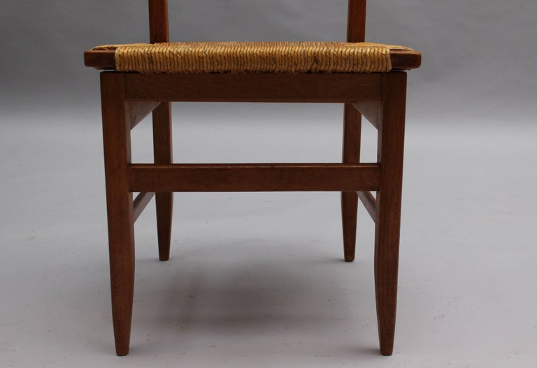 Set of Six French Mid-Century Dining Chairs by Guillerme et Chambron For Sale 7