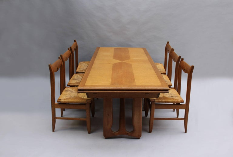 Set of Six French Mid-Century Dining Chairs by Guillerme et Chambron For Sale 12