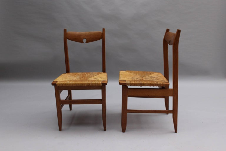 Mid-20th Century Set of Six French Mid-Century Dining Chairs by Guillerme et Chambron For Sale