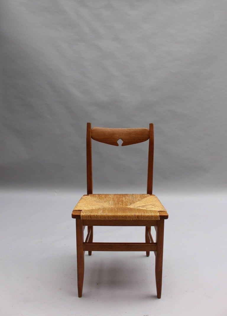 Rush Set of Six French Mid-Century Dining Chairs by Guillerme et Chambron For Sale