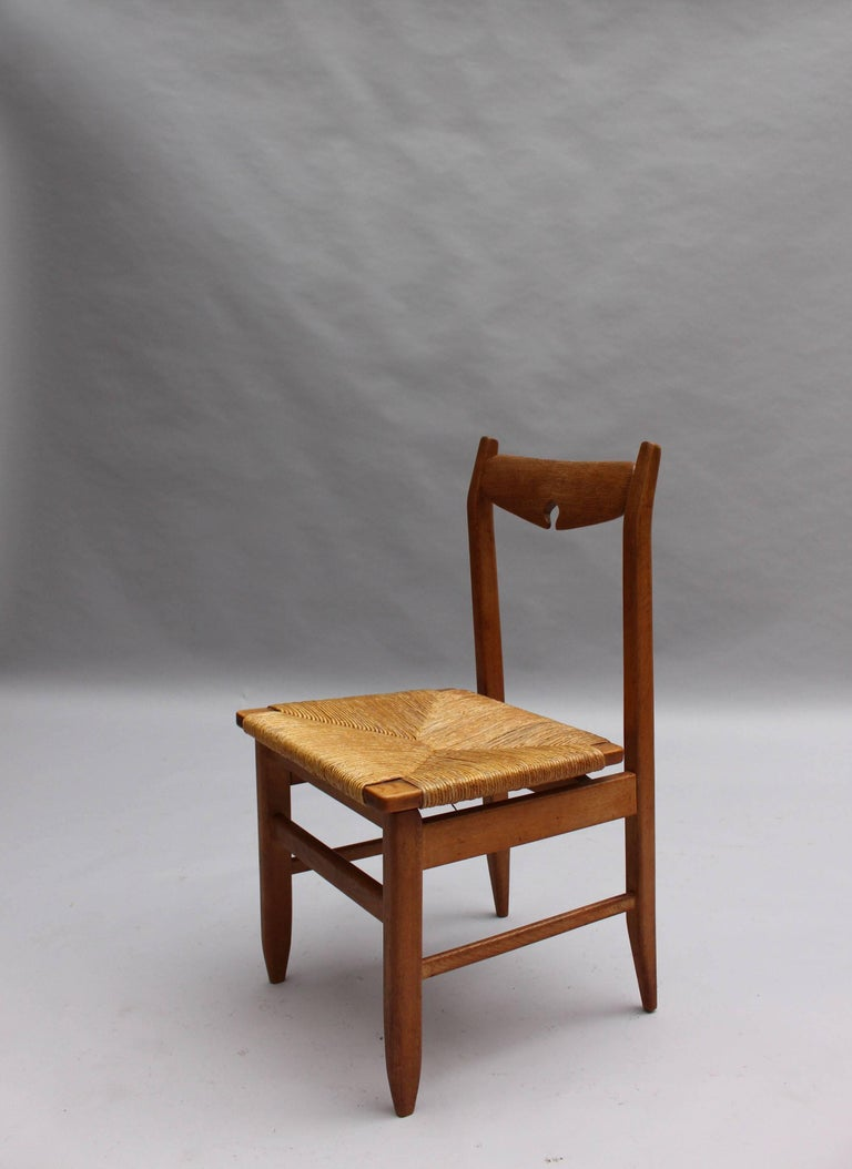 Set of Six French Mid-Century Dining Chairs by Guillerme et Chambron For Sale 1