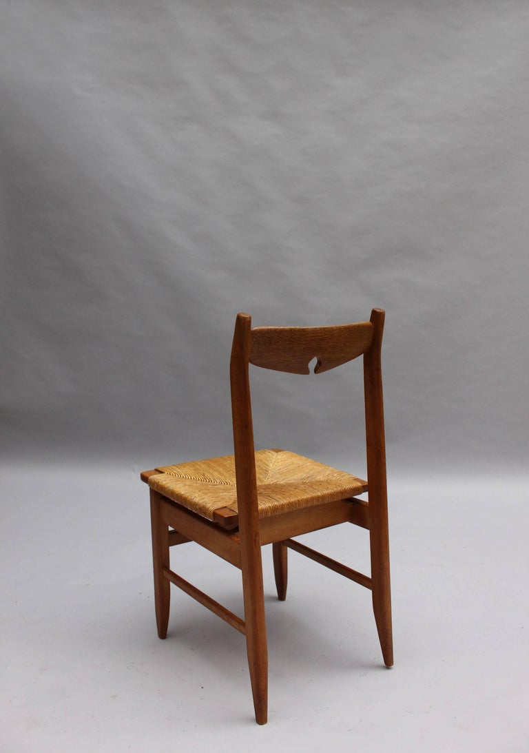 Set of Six French Mid-Century Dining Chairs by Guillerme et Chambron For Sale 3