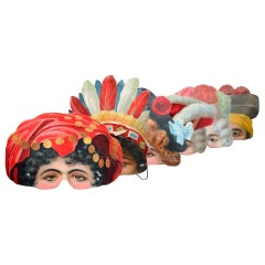 Set of 6 Mid-20th Century German Theatre Masks