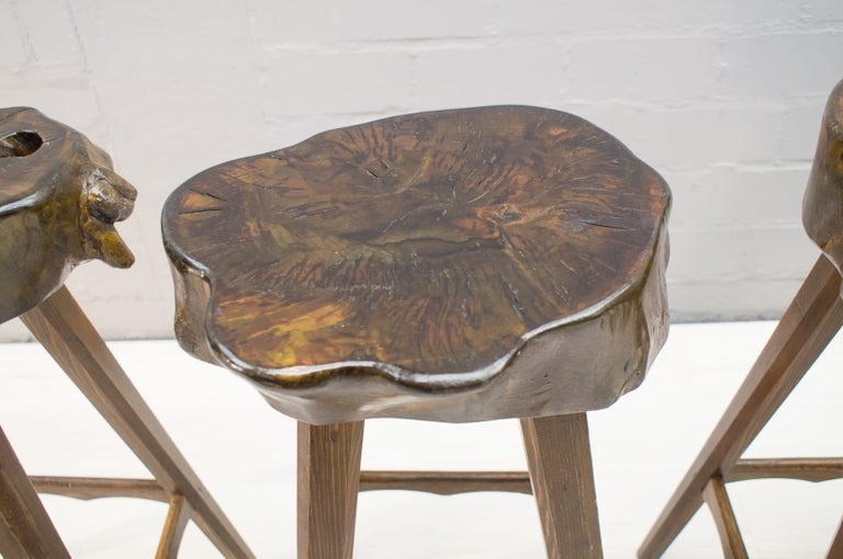 Six Mid Century French Wooden Bar Stools Pierre Chapo