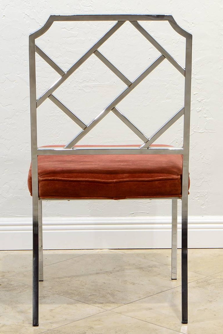 Set of Six Milo Baughman Chrome Chippendale Inspired Modern Dining Chairs In Good Condition For Sale In Ft. Lauderdale, FL