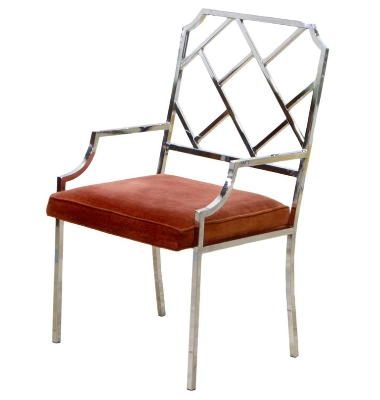 20th Century Set of Six Milo Baughman Chrome Chippendale Inspired Modern Dining Chairs For Sale