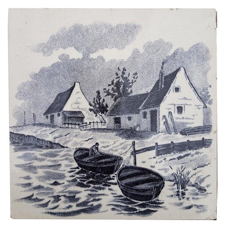 Folk Art Set of 6 of Total 120 Dutch Blue Glazed Ceramic Tiles by Le Glaive, 1930 For Sale