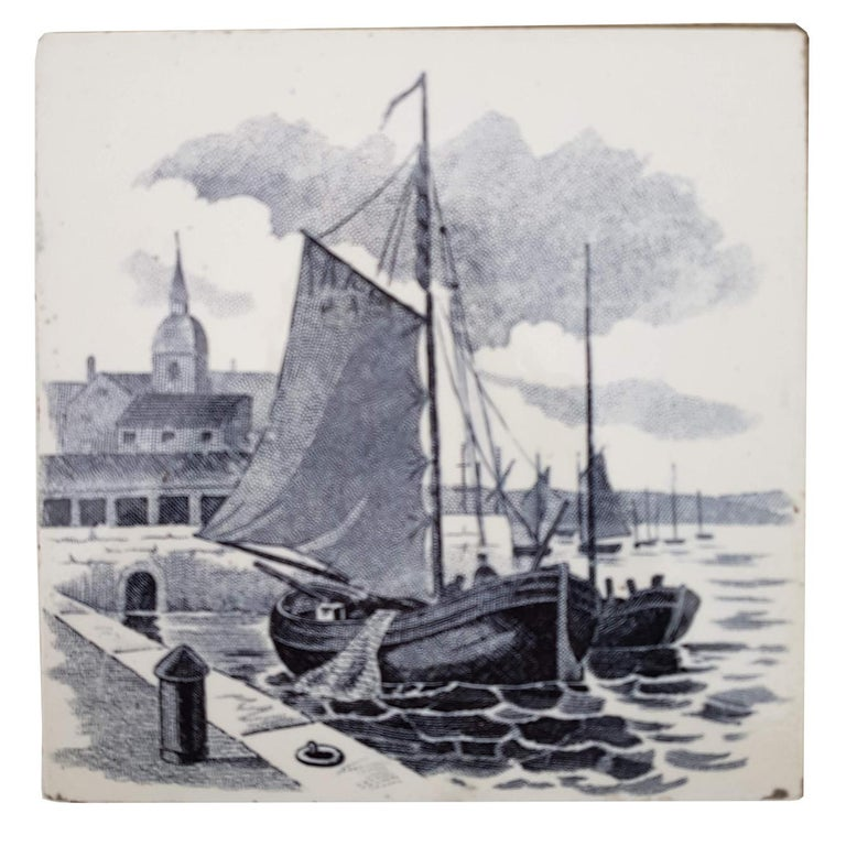 Belgian Set of 6 of Total 120 Dutch Blue Glazed Ceramic Tiles by Le Glaive, 1930 For Sale
