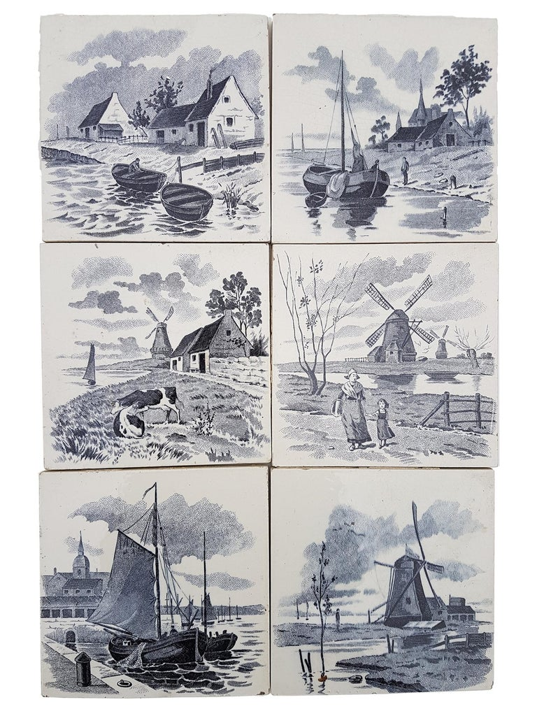 Set of 6 of Total 120 Dutch Blue Glazed Ceramic Tiles by Le Glaive, 1930 In Good Condition For Sale In Rijssen, NL