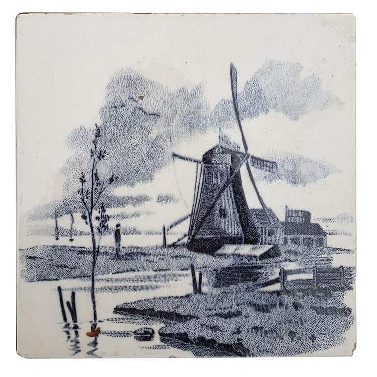 Set of 6 of Total 120 Dutch Blue Glazed Ceramic Tiles by Le Glaive, 1930 For Sale 1