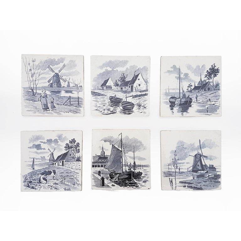 Set of 6 of Total 120 Dutch Blue Glazed Ceramic Tiles by Le Glaive, 1930 For Sale 2