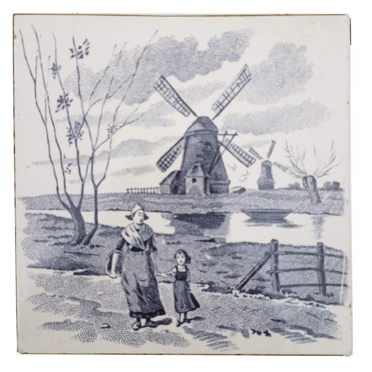 Set of 6 of Total 120 Dutch Blue Glazed Ceramic Tiles by Le Glaive, 1930 For Sale 3
