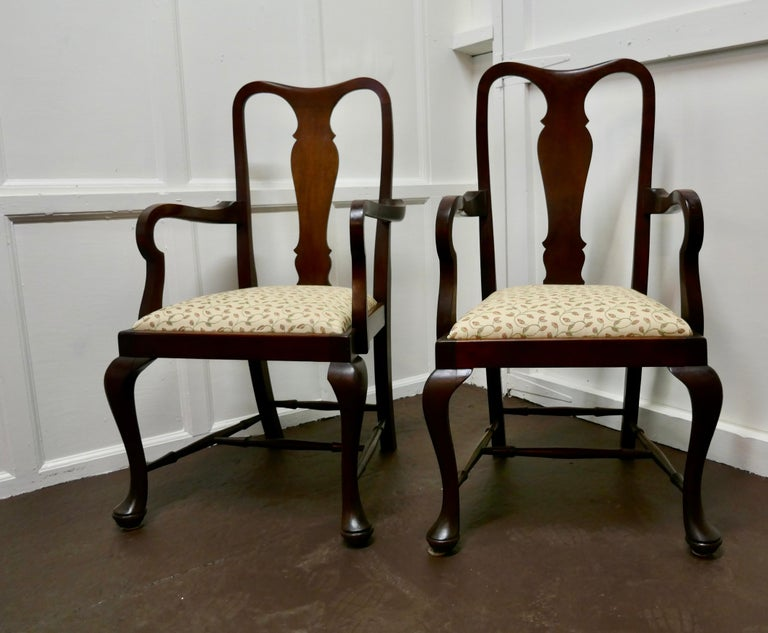 Set of 6 Queen Anne Style Mahogany Dining Chairs For Sale 3