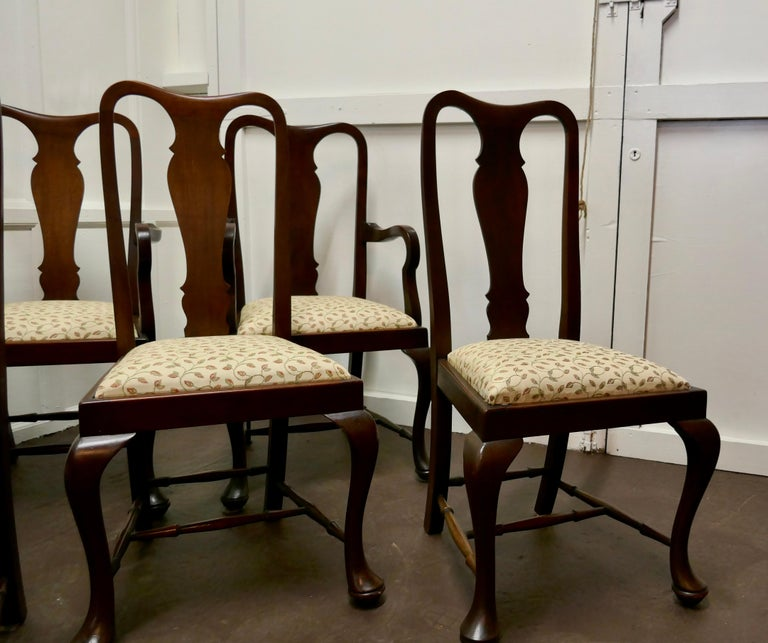Set of 6 Queen Anne Style Mahogany Dining Chairs For Sale 5