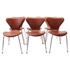 Set of 6 Seven Chairs, Model 3107, Designed by Arne Jacobsen, 1980s